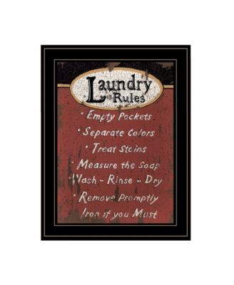 Laundry Rules by Linda Spivey, Ready to hang Framed Print, Black Frame, 15