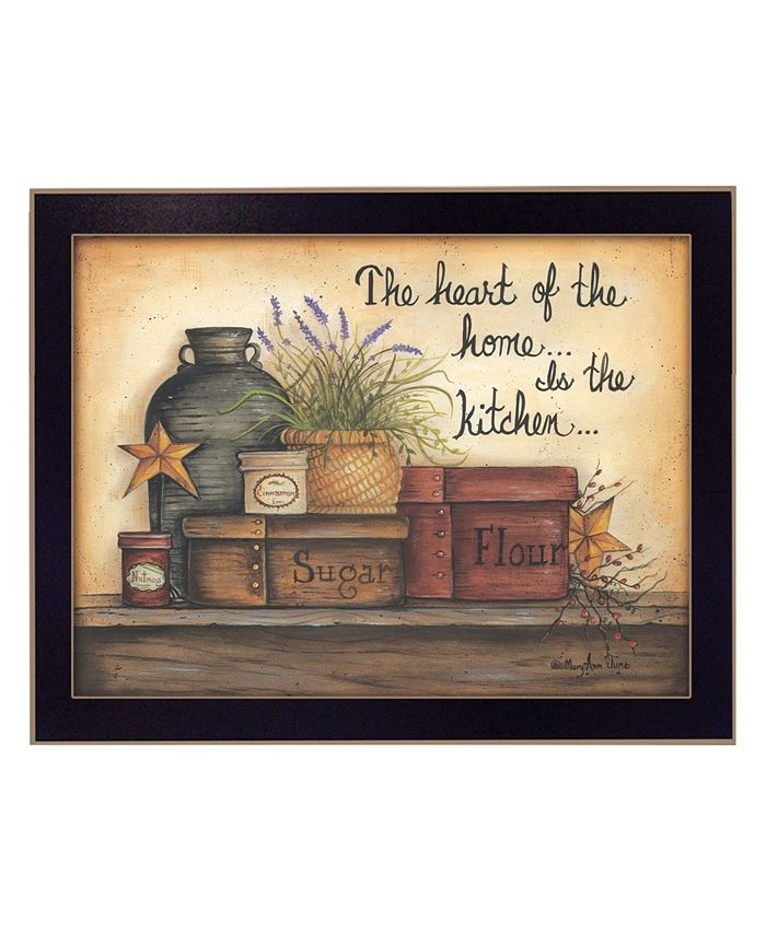 """Trendy Décor 4U - Trendy Decor 4U Heart of the Home By Mary June, Printed Wall Art, Ready to hang, Black Frame, 18"""" x 14"""""""