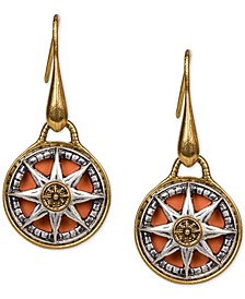 Two-Tone Crystal Compass Drop Earrings