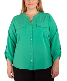 Plus Size Mandarin-Collar Blouse