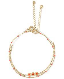Gold-Tone Heart Disc Two-Row Bracelet