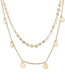 "Gold-Tone Disc Two-Row Necklace, 18"" + 2"" extender"