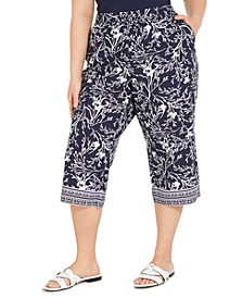 Plus Size Printed Border Capri Pants, Created for Macy's