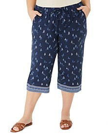 Plus Size Saiboat-Print Border Capri Pants, Created for Macy's