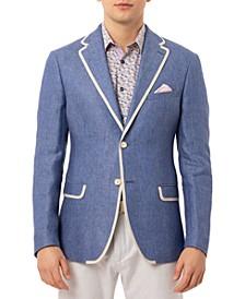 Orange Men's Slim-Fit Blue & White Dot Linen Sport Coat