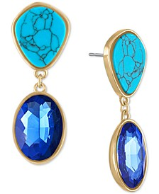 Gold-Tone Imitation Turquoise & Blue Crystal Drop Earrings