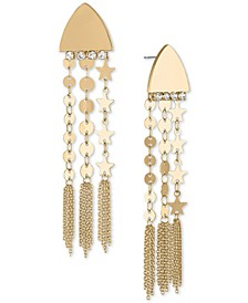 Gold-Tone Disc Chain Drop Earrings