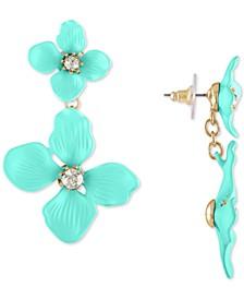 Gold-Tone Double Flower Drop Earrings