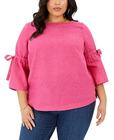 Plus Size Linen Bell-Sleeve Top, Created for Macy's