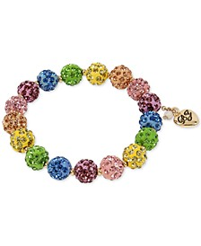Gold-Tone Multicolor Pavé Fireball Stretch Bracelet