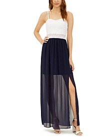 Juniors' Lace-Top Chiffon Maxi Dress
