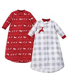 Baby Girls and Boys Santas Sleigh Long-Sleeve Fleece Sleeping Bag, Pack of 2