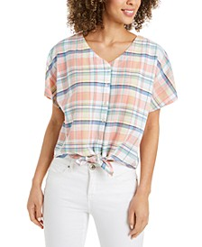 Petite Tie-Front Blouse, Created for Macy's