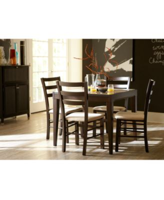 Café Latte Glass Top Expandable Dining Table Furniture Macys - Macys dining room sets