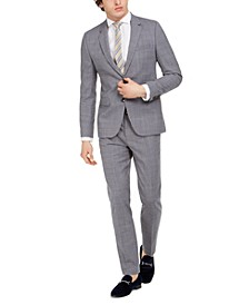 Men's Skinny-Fit Mid Blue Plaid Wool Suit Separates
