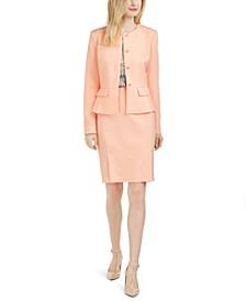 Peplum-Hem Back-Slit Blazer, Printed Top & Pencil Skirt