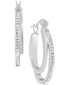 Crystal Double Hoop Earrings in Fine Silver-Plate