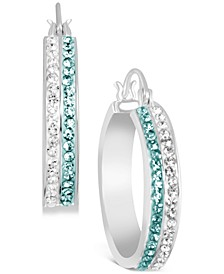 "Fine Silver-Plated Small Crystal Hoop Earrings, 1.04"""
