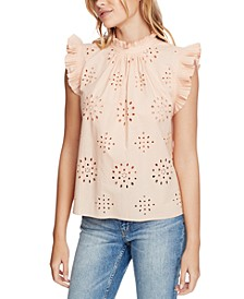 Eyelet-Embroidered Pleated Top