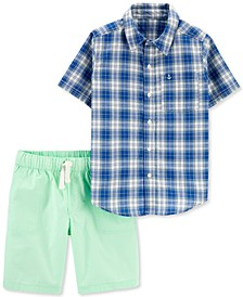Little & Big Boys 2-Pc. Plaid Shirt & Poplin Shots Set