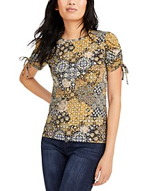 Patchwork Ruched-Sleeve Top
