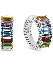 EFFY® Multi-Gemstone Small Hoop Earrings (3 ct. t.w.) in Sterling Silver, 0.6""