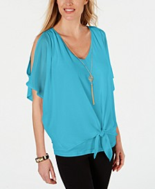 Solid Tie-Front Necklace Top, Created for Macy's