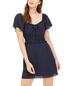 Juniors' Polka-Dot A-Line Dress