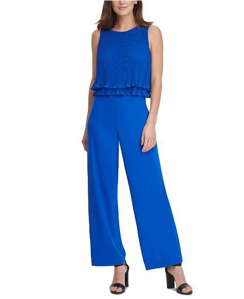 DKNY Pleated Chiffon Layered-Top Jumpsuit