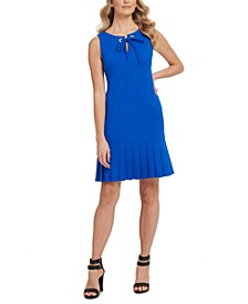 Tie-Neck Pleated-Hem Dress