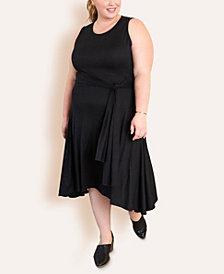 Ori Women's Plus Size Wrap Tie Midi Dress
