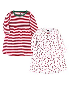 Baby Toddler Girls Candy Cane Dresses, Pack of 2
