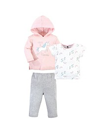 Baby Toddler Girls Glitter Unicorn Hoodie, Bodysuit or Tee Top and Pant Set, Pack of 3