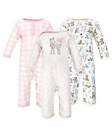 Baby Girls and Boys Enchanted Forest Coveralls, Pack of 3