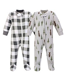 Baby Girls and Boys Forest Bear Fleece Sleep and Play
