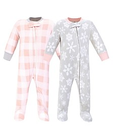 Baby Girls Snowflake Fleece Sleep and Play