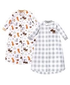 Baby Girls and Boys Woodland Long-Sleeve Fleece Sleeping Bag, Pack of 2