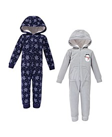 Baby Toddler Girls and Boys Snowman Fleece Jumpsuits, Coveralls and Playsuits, Pack of 2