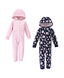 Baby Toddler Girls and Boys Rose Fleece Jumpsuits, Coveralls and Playsuits, Pack of 2