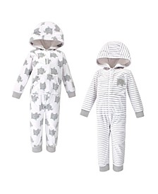 Baby Toddler Girls and Boys Elephants Fleece Jumpsuits, Coveralls and Playsuits, Pack of 2