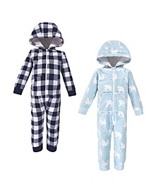 Baby Toddler Girls and Boys Polar Bear Fleece Coveralls and Playsuits Jumpsuits, Pack of 2