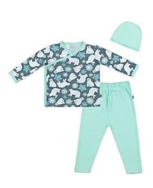 Baby Boys and Girls Snow Bears Kimono Set