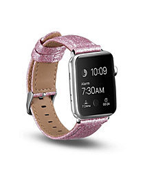Posh Tech Men's and Women's Apple Pink Glitter Leather Replacement Band 40mm