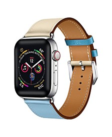 Men's and Women's Apple Blue and White Colored Leather Replacement Band 44mm