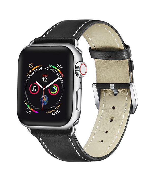 Posh Tech Men's and Women's Apple Black Leather Replacement Band 44mm