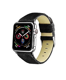 Men's and Women's Apple Black Wool Velvet, Leather, Stainless Steel Replacement Band 44mm