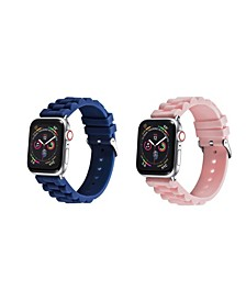 Men's and Women's Apple Blue Pink Silicone Link Silicone, Leather Replacement Band 44mm