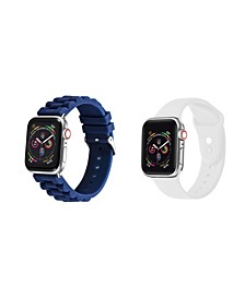 Men's and Women's Apple Blue White Silicone, Leather Replacement Band 44mm