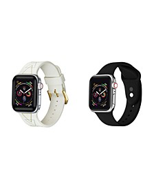Men's and Women's Apple Geometric Black Silicone, Leather Replacement Band 44mm