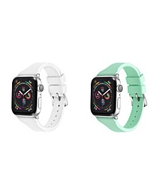 Men's and Women's Apple White Mint Skinny Silicone, Leather Replacement Band 44mm